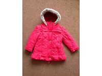 M&S autograph quilted red girls winter coat with fake fur trim Age 2-3 years