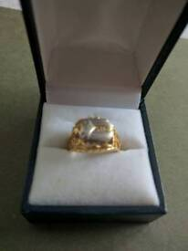White and yellow gold scarabeus ring
