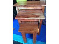 Nest Of Tables (x3) Real Wood