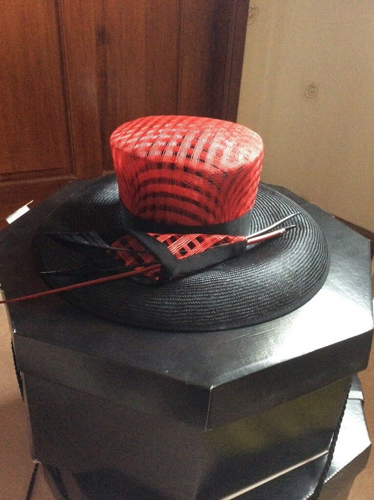 Beautiful black and red ladies hat