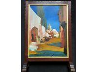 Augusta Coles (Circa 1911) Moroccan Cityscape Oil Painting Mahogany Fire Screen