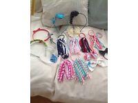 Girls hair accessories, 7 hair bands, 6 corkies, 3 large bows