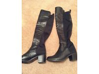 Ladies black knee length stretchy boots, size 5