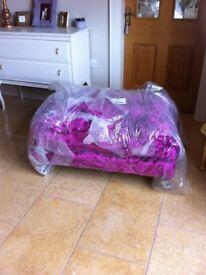 New sofology Fuschia Crushed Velvet Footstool & Matching Cushions