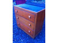 Vintage 1950s three drawer chest