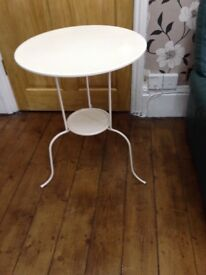 2 x IKEA round white metal tables suitable indoor/outdoor use, good condition only £8each/£15 both
