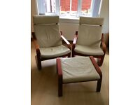Two IKEA Poang leather chairs and one footstool
