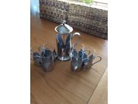 Glass/stainless steel cafeteria and 6 mugs set from M&S