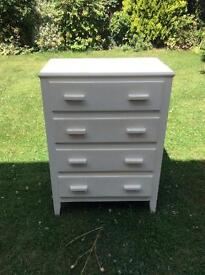 SOLID WOOD CHEST OF DRAWERS PAINTED WHITE