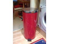 Red Homebase 30l kitchen pedal bin