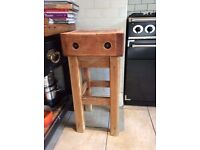 intage Wooden Chopping Block Free Standing Table