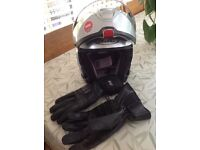 Motor cycle leather boots and HJC gloves and matching motorcycle jacket and trowsers