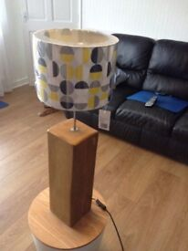 large wooden lamp, over 65 cm, 80cm with shade