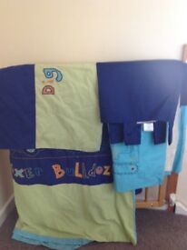 Kids single bedding set and curtains