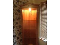 Pine corner unit with lighting and glass shelves vgc