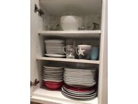 Mixer, pan, cutlery, toaster, boiler, glasses, drying rack,oven dishes, cups offer