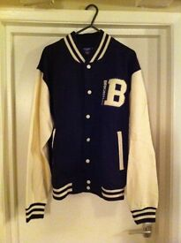 "NEW! UNISEX ""VARSITY""/UNI/COLLEGE JACKET, NAVY & OFF-WHITE, new with tags"