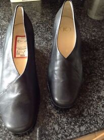 "Brand new Ladies black leather "" K"" shoes size 3"