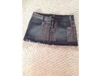 LADIES BLACK DENIM MINI SKIRT WITH SEQUINS SIZE 10