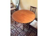 Teak G Plan table and 4 dining chairs in good overall condition