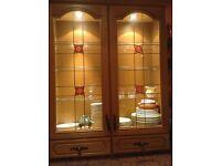 Oak kitchen glass cabinet