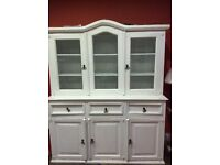 Kitchen Dresser/Display Unit - Mexican Pine (painted off white)