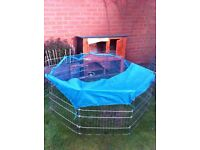 Double Decker Rabbit/ Guinea Pig Hutch House Cage Rabbit huntchs with Sliding Tray