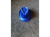 Blue Sequined Cowboy hat with flashing lights