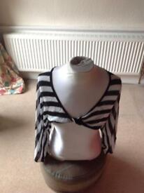 Black and white striped shrug top