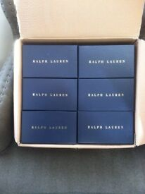 RALPH LAUREN GIFT BOXES IN DARK BLUE WITH GOLD LETTERING ( EMPTY )