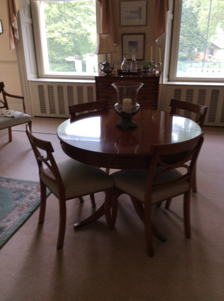 Attractive Skirted Yew Dining Table 120 Cms Diameter Extends To 130 15070 High 75