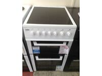 Beko white freestanding electric cooker. 4 zone ceramic hob. 50cm. New/graded 12 month Gtee