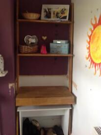 Oak lean to shelving and desk