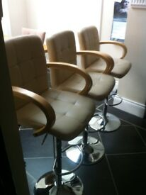3 GAS LIFT CREAM FAUX LEATHER BAR STOOLS