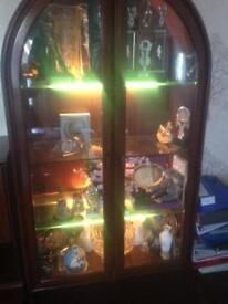 Solid mahogany illuminated display cabinet and drinks cabinet