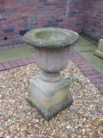 Pair old stone English Garden Urns