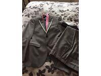 Next slim fit suit grey 36s trousers 30r