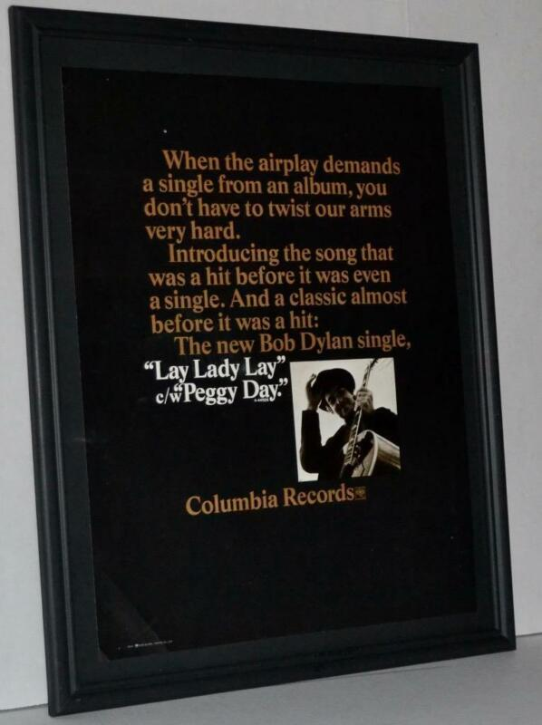 BOB DYLAN 1969 LAY LADY LAY / PEGGY DAY SINGLE PROMOTIONAL FRAMED POSTER / AD