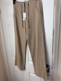 Ladies linen beige size 10 trousers brand new tags still attached