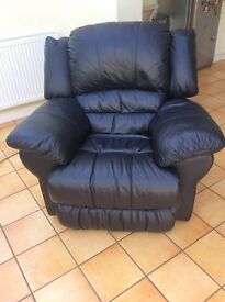 Electric Reclining Black Leather Armchair
