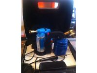 Soldering iron and 2 blow lamps in black case