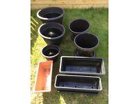 For Sale Multiple plastic planter pots and troughs