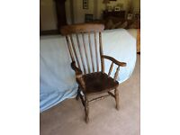 Kitchen chair tallbacked in polished wood