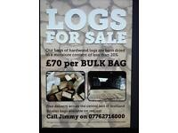 Firewood logs for sale from £70 per bulk bag, less than 20% moisture content.