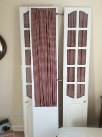 Wardrobe doors (3) glass panelled white with fabric backing