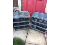 Industrial metal, storage, shelving, pigeon holes,
