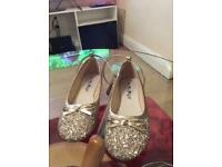 Good sequinned size 5 ballet shoe with ankle strap