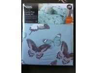 NEW single duvet set, duck egg blue with butterflies