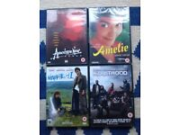 DVDs Amelie unopened with nail and I, kidulthood, apocalypse now all used but good condition