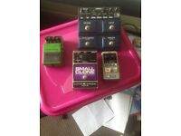 Selection of effect pedals for guitar. Boss, harmonic etc